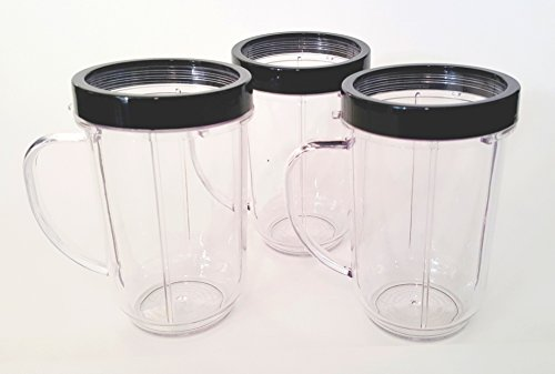 Party Cups for Magic Bullet Blender Original (Set of 3) Black Lip Rings (Magic Bullet Tall Mug compare prices)