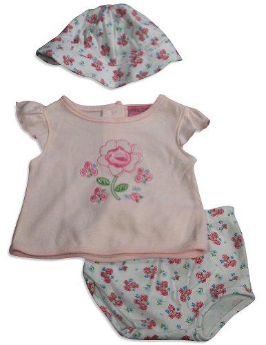 Little By Little - Newborn Girls Short Sleeve Diaper Set, Peach, Light Pink, White 28752-6-9Months
