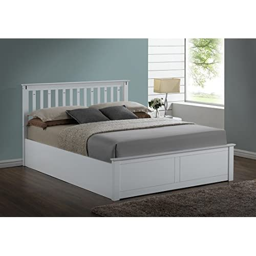 Kensington White Wooden Storage Ottoman Double Bed Frame