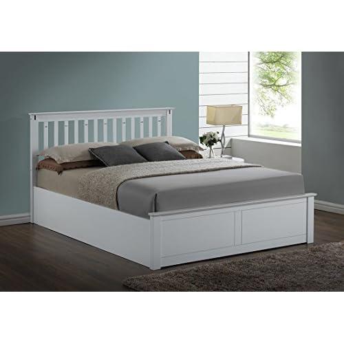 Kensington White Wooden Storage Ottoman Double Bed Frame