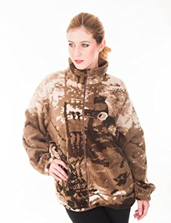 ladies owl design printed fleece jacket with full zip and side pockets (Large (12-14), Beige)