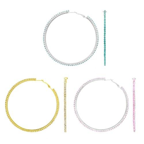 Reba's Rhinestone Hoop Earrings Set of 3 - Gold, Pink, and Blue