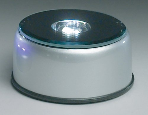 Merchandise Display Base, Silver, Led Lighted, Revolving Mirror, White Lights