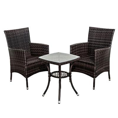 Outsunny Garden Outdoor Rattan Furniture Bistro Set Patio Weave Companion Chair Table Set Conservatory Fire Retardant Sponge