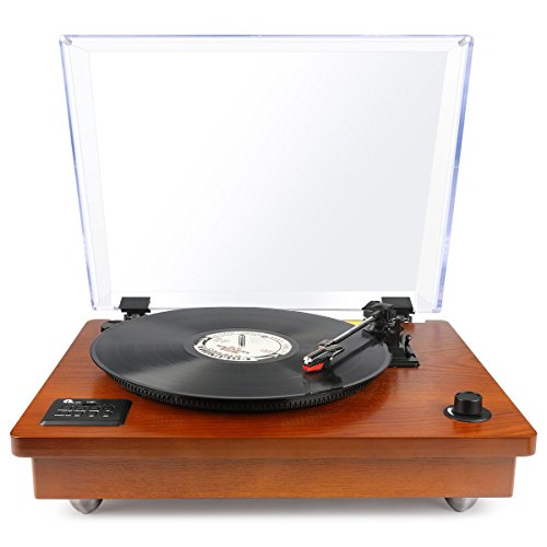 1byone-riemengetriebener-Bluetooth-Plattenspieler-mit-Vinyl-To-MP3-Funktion-Naturholz