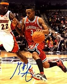 Brandon Jennings Autographed Milwaukee Bucks 8x10 Photo - Autographed NBA Photos by Sports+Memorabilia