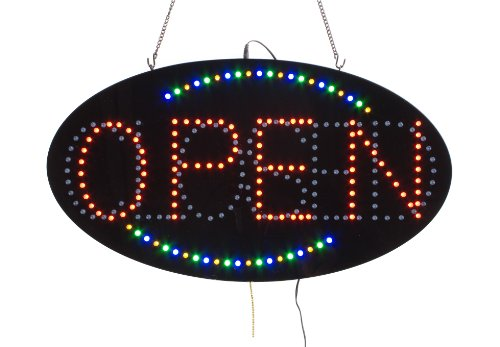 """Displays2Go Animated Oval Led Sign Reads """"Open/Closed"""" (Ledopen61)"""