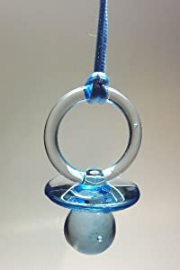 blue plastic pacifier necklaces baby shower party game favors
