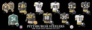 Framed Evolution History Pittsburgh Steelers Uniforms Print