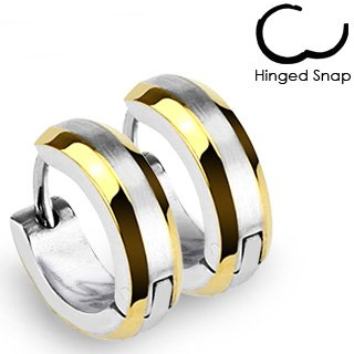 Pair of Stainless Steel Hoop Earring with Gold Plated Edges and Brushed Steel Center; Comes With Free Gift Box