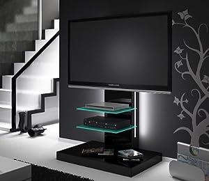 tv lowboard rack schwarz hochglanz mit tv halterung led beleuchtung. Black Bedroom Furniture Sets. Home Design Ideas