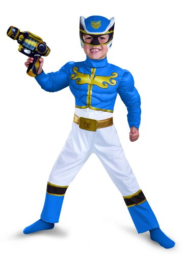 Disguise Power Rangers Megaforce Blue Ranger Muscle Costume, 3T-4T (Blue Power Ranger Costume)