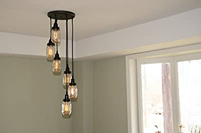 """10"""" Oil Rubbed Bronze Canopy with 6 Black Cloth Cord Jar Pendant Lights Spiraled - By Industrial Rewind"""