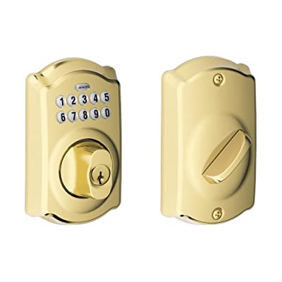 Schlage BE365 V CAM 505 Camelot Keypad Deadbolt, Bright Brass