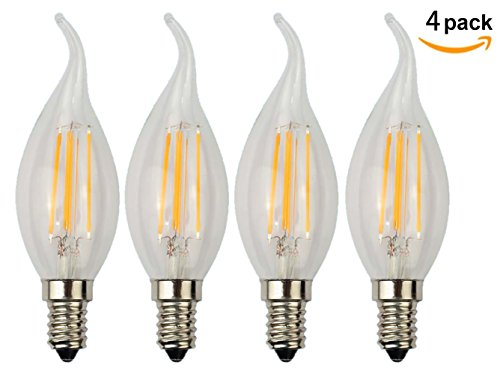 Mooncolour 4W LED Filament Candelabra Bulb, 40-watt Equivalent,Warm White 2700K, Use in Chandeliers, Wall Sconces, and Pendant Lighting, 4 Pack