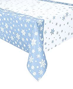 "Unique Plastic Snowflakes Table Cover, 84"" x 54"""