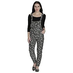 SVT ADA COLLECTIONS LYCRA BLACK PRINTED WITH WHITE STIPES ELEGANT DANGRI DRESS (JUMPSUIT) (007602_Black_Medium)