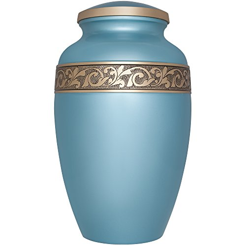 Funeral Urn by Liliane - Cremation Urn for Human Ashes - Hand Made in Brass and Hand Engraved - Fits the Cremated Remains of Adults as Well as the ashes of dogs, cats or other pets - Display Burial Urn at Home or in Niche at Columbarium (metallic light blue Vignoble) (Metallic Urn compare prices)