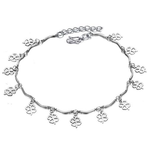 OPK-New Fashion Jewelry Adjustable Unisex Anklet Bracelet 18K White Gold Plated Silver Lucky Four Leaves Clover Pendants Waves Foot Chain New Design Stylish Personality Gift Never Fade And Nickle Free 9.65 Inch Length 3g Weight