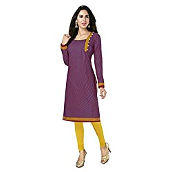 Stylish Girls Women Cotton Printed Unstitched Kurti Fabric (SG_K101_Yellow_Free Size)