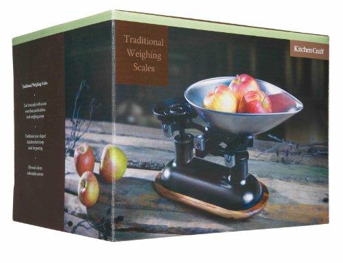 Natural Elements Balance de cuisine Fonte/Bois d'acacia Noir