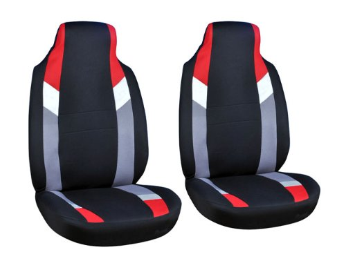 Cloth Mesh Seat Covers Full 2 Piece Set Red Gray And Black For Car Truck Suv Van