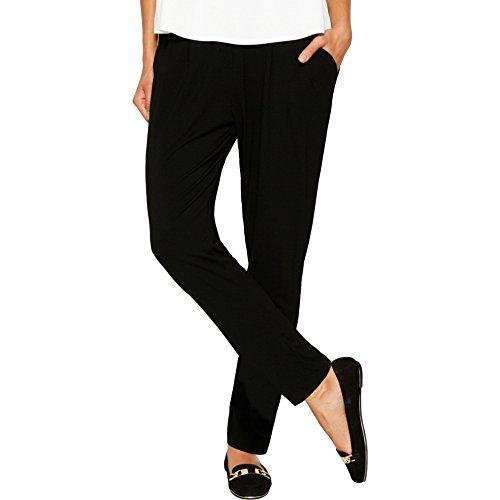 Matty M Women's Solid Front Pleat Rayon Pants, XS, Black