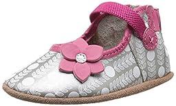 Robeez Becca Mary Jane Soft Sole Crib Shoe (Infant), Grey, 0-6 Months M US