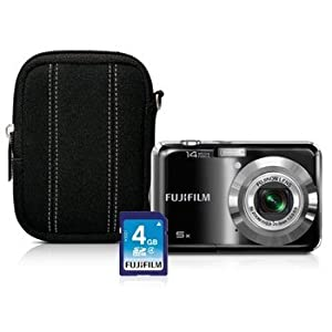 FUJIFILM FinePix AX330 Bundle 14 MP Digital Camera with 5 x Optical Zoom + FUJIFILM Case + FUJIFILM 4GB SD Card = Value Bundle Package - Black
