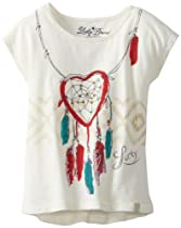 Lucky Brand Girls 7-16 Dreamcatcher Tee, Vanilla Ice, Large