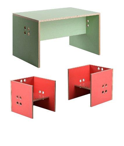 Kindersitzgruppe – Kindermöbel – 2 Kinderstühle/Hocker + 1 Kindertisch/Bank. Tisch mint, Farbe Stühle frei wählbar. (Stühle / Hocker rot, Tisch / Bank mint) günstig kaufen