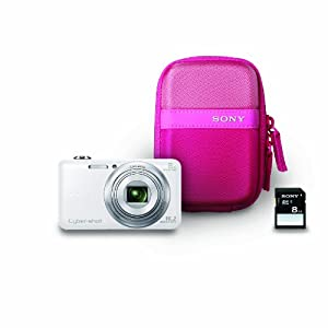 Sony DSCWX80/WBDL Digital Camera with 2.7-Inch LCD (White) with Case and 8GB Memory Card