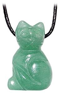 Kaltner Präsente Lederhalskette mit Edelstein Katzen Anhänger (Aventurin)