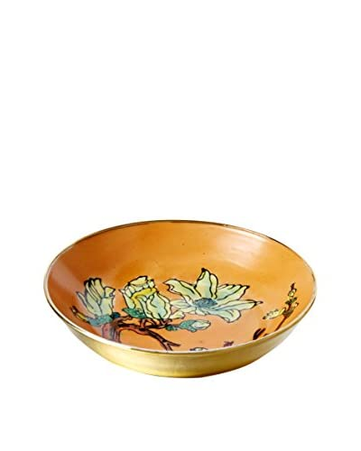 Dynasty Gallery Floral Brass Plate, Yellow