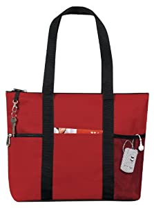 Zipper Travel Tote Sports Gym Bag, Red