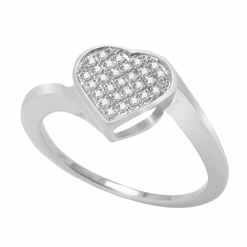 Platinum Plated Sterling Silver Micro Pave Diamond Heart Promise Ring