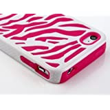Leegoal Zebra Combo Hard Soft High Impact Armor Skin Gel Case with Free Screen Protector and Stylus for iPhone 4/4S/4G - Pink/White
