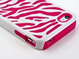 Pandamimi Zebra Combo Hard Soft High Impact Armor Skin Gel Case with Free Screen Protector and Stylus for iPhone 4/4S/4G - Pink/White