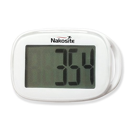 """TODAY'S DEAL is NAKOSITE Best Walking 3D Simple Pedometer with Strap plus Free eBook. NSPD 2433, Accurate Step Counter ONLY. Tri-Axis Technology, White, Easy to read Display. BONUS: eBook """"How I Lost Weight Walking"""". 365 Days Warranty"""