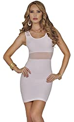 Womens Bodycon Stretch Abstract Knit Mesh Scoop Neck Sleeveless Party Mini Dress