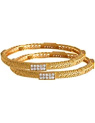 JFL - Traditional & Ethnic One Gram Gold Plated Ruby Emerald Cz American Diamond Bangles Set For Girls And Women
