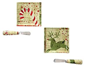 Creative co op christmas holiday 8pc set for Canape knife set