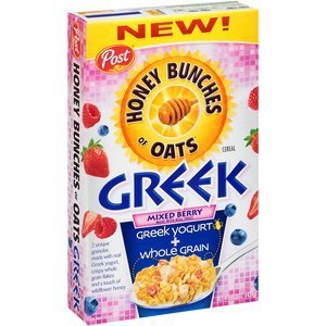 Post, Honey Bunches of Oats, Greek, Mixed Berry Cereal, 15.5oz Box (Pack of 2)