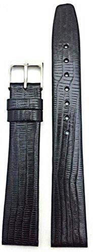 16Mm Black, Teju Lizard Grain Leather, Flat, Watch Band