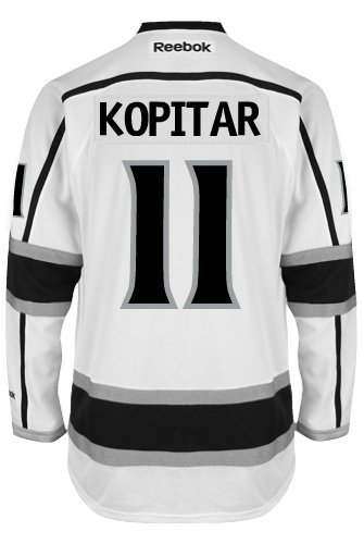 Anze Kopitar Los Angeles Kings Reebok Premier Away Jersey NHL Replica with 2014 Stanley Cup Patch