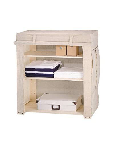 Organize It All Linen Closet with Wood Frame, Tan