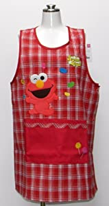 Sesame Street check large side button kitchen apron apron character Red 56507r (japan import)