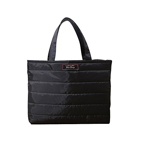 Caixia Women's Nylon Quilted Tote Handbag Document Bag Business Case Black