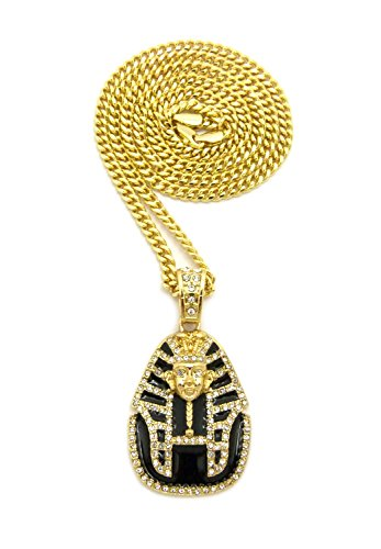 [Black Headdress Pharaoh Pendant with Chain Necklace in Gold-Tone - 3mm 24