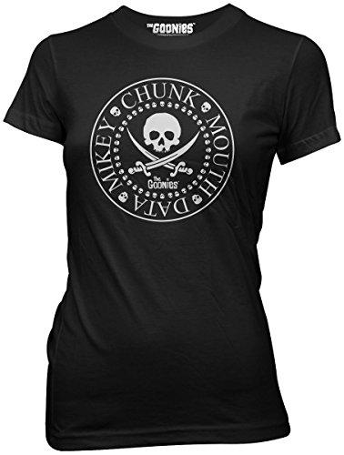 Goonies Seal Skull and Swords Names Juniors T-shirt (Large, Black)